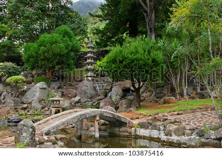 Japanese Garden in Kepaniwai Park and Heritage Gardens - stock photo
