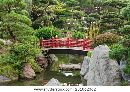 Japanese garden in Monte Carlo, Monaco - stock photo