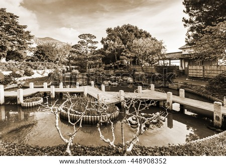 Japanese garden in Monte Carlo, Monaco. The Old style sepia. - stock photo