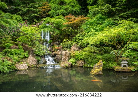 Japanese Garden in Portland Oregon USA - stock photo