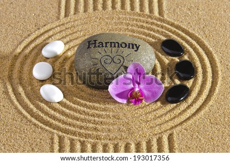Japanese garden in sand with stones - stock photo