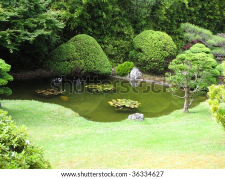 japanese garden in the middle of San Francisco - stock photo