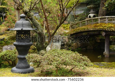 Japanese garden of the imperial palace (Kyoto) - stock photo