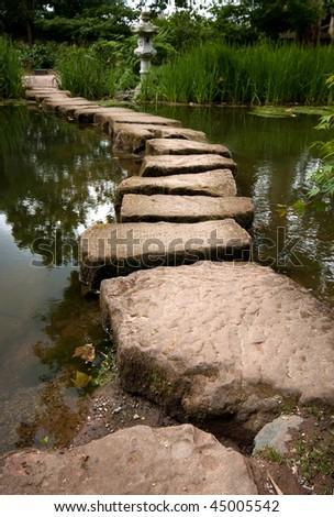 Japanese Garden Stepping Stones - stock photo