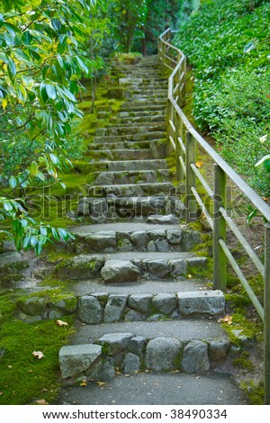 Japanese garden stone staircase covered in moss and surrounded by green foliage