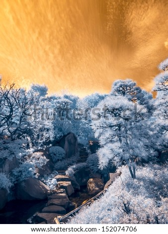 Japanese garden, Tokyo, Japan. Extended Infrared (650nm to 1050nm) - stock photo