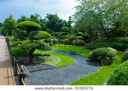 japanese garden topiary - stock photo