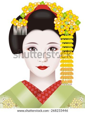 Japanese geisha. Illustration./ Fashion & ornamental hairpin of March. - stock photo