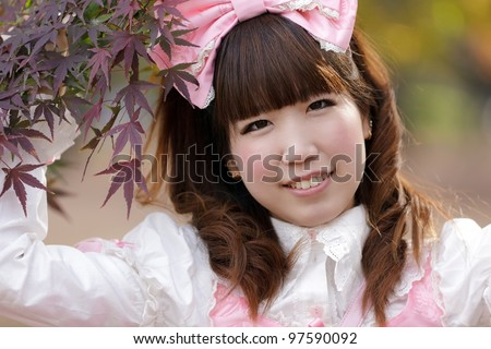 japanese girl in lolita cosplay fashion - stock photo