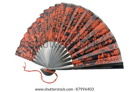 Japanese  hand fan isolated on white
