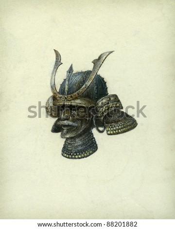 Japanese helmet, acrylic on paper - stock photo