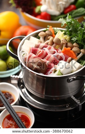Japanese hot pot with delicious food ingredient - stock photo