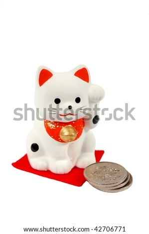 Japanese lucky cat. Maneki - neko bring coins