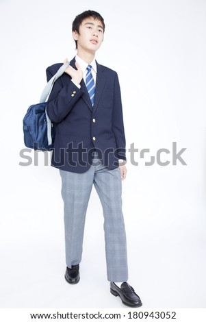 Japanese male junior high student who walks