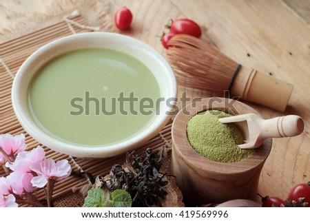 Japanese matcha green tea and green tea powder - stock photo