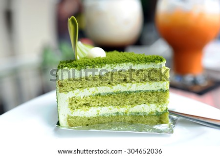 Japanese Matcha Green tea cake, tea and cake - stock photo