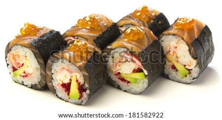 Japanese national food sushi rolls on a white background