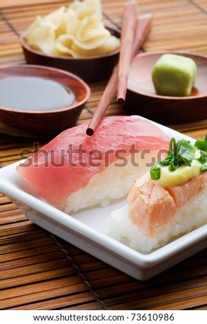 Japanese nigiri sushi lunch with selective focus - stock photo
