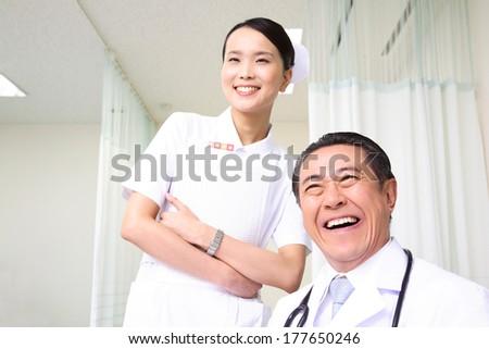 Japanese Nurse portrait - stock photo