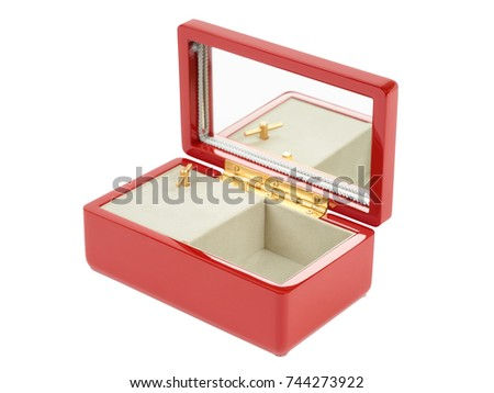 Japanese open lacquered red music box for jewelry isolated on white background