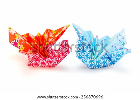 Japanese paper crafts of celebration cranes - stock photo