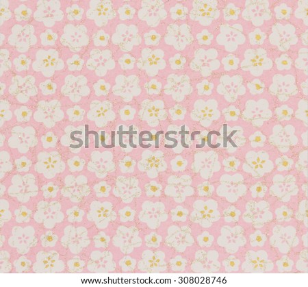 Japanese pattern white cherry blossoms on pink paper background.