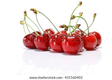Japanese perfect ripe cherry in white #3 - stock photo