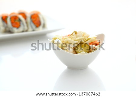 Japanese Pickles and sushi - stock photo
