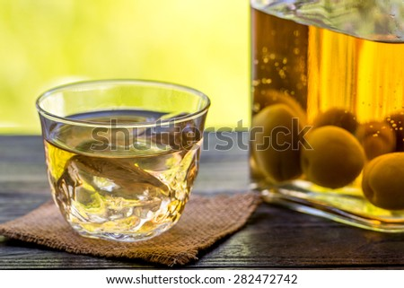 japanese plum wine - stock photo