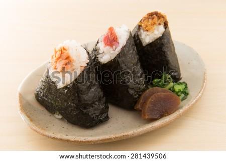 japanese rice ball - stock photo