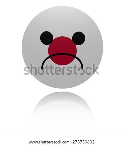 Japanese sad icon with reflection illustration - stock photo