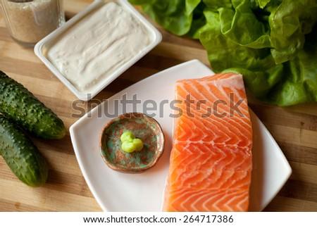 Japanese salmon sushi preparation -  filings ingrediants. - stock photo