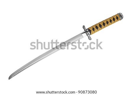 Japanese samurai sword with a yellow-black ink on white background - stock photo