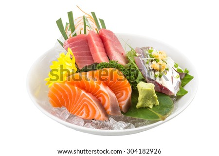 Japanese sashimi sushi set on white plate - stock photo