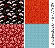 japanese seamless patterns (raster version) - stock photo