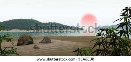 japanese seascape - stock photo