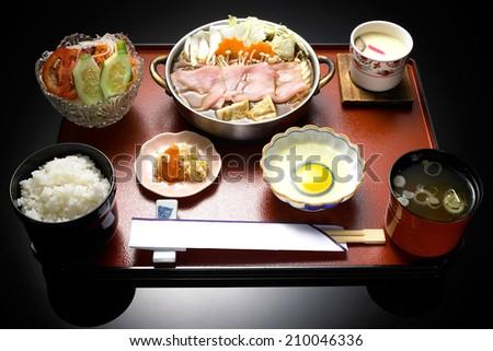 Japanese set meal with sukiyaki - stock photo