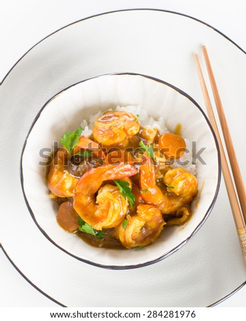 Japanese shrimp curry with rice in a bowl - stock photo