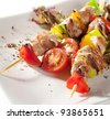 Japanese Skewered Chicken (yakitori) with Vegetables - stock photo