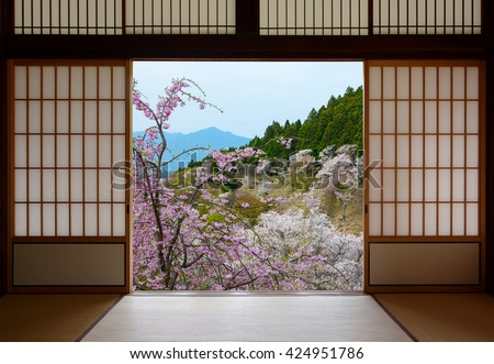 Japanese sliding doors and beautiful landscape of cherry trees in spring - stock photo