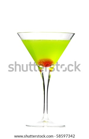 japanese slipper cocktail isolated white background - stock photo