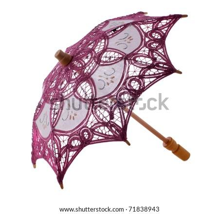 Japanese small umbrella, parasol, isolated on white - stock photo