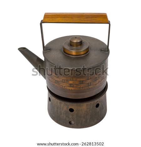 Japanese Style copper kettle on stove, isolate white background - stock photo