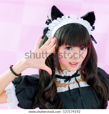 japanese style cute maid - stock photo