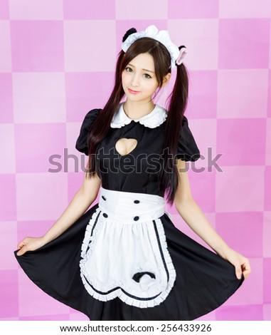 japanese style cute maid sexy dress - stock photo