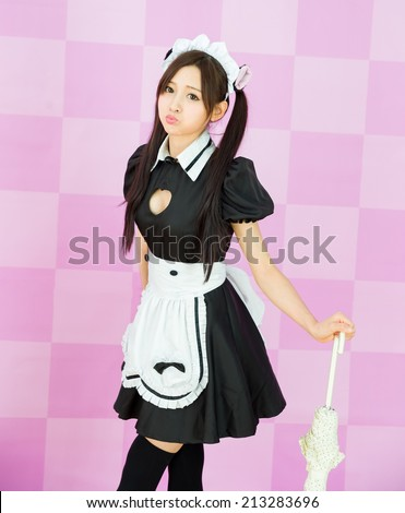 japanese style cute maid sexy dress show boods - stock photo