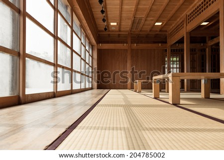Japanese-style decorated room with tatami floor - stock photo