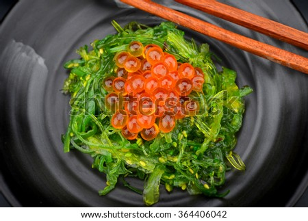 Japanese style raw salmon eggs so beautiful orange color