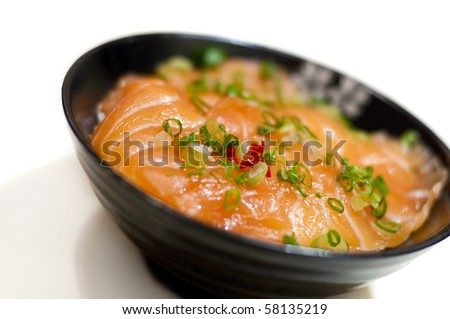 Japanese style raw salmon fish (sashimi) rice