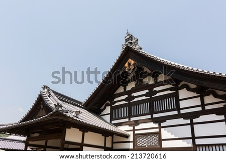 Japanese style roof of Kinkakuji, Kyoto , Japan, Asia. - stock photo